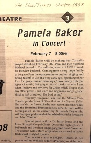 Pam Baker concert article